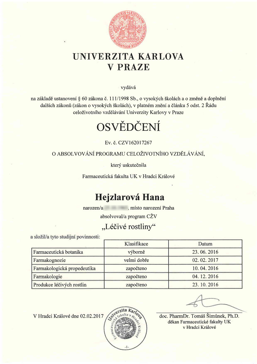 Certifikát FaF UK HK - Léčivé rostliny