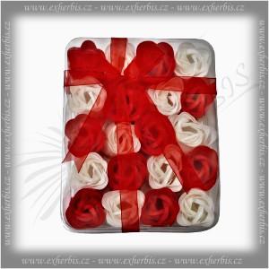 Rentex Dárkové Mýdlové květy 20 ks červená-bílá