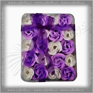 Rentex Dárkové Mýdlové květy 20 ks fialová-bílá
