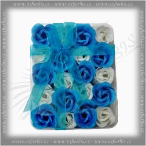 Rentex Dárkové Mýdlové květy 20 ks modrá-bílá