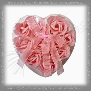Rentex Dárkové Mýdlové květy 9 ks Srdce růžové