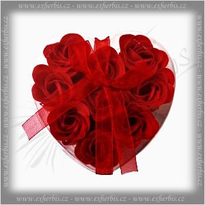 Rentex Dárkové Mýdlové květy 9 ks Srdce červené