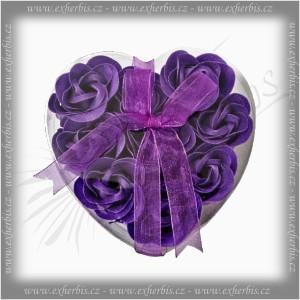 Rentex Dárkové Mýdlové květy 9 ks Srdce fialové
